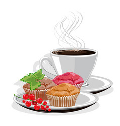 coffee mug and cupcake vector image vector image