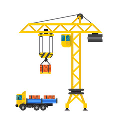 Construction crane house and tipper car industry vector
