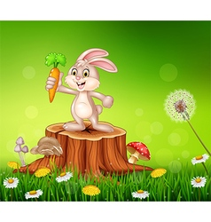 Cute bunny holding carrot on tree stump in summer vector image