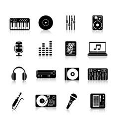 Dj icons black set vector