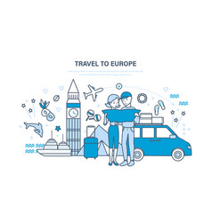 Family hold joint vacation in summer in europe vector