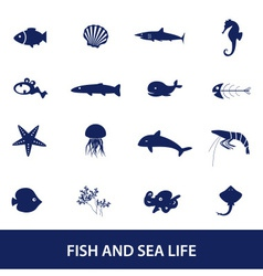 Fish and sea life icons set eps10 vector