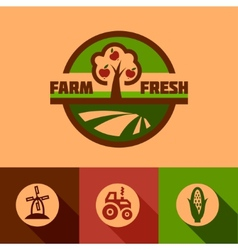 flat farm emblems vector image