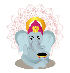 Ganesha cartoon on mandala background vector