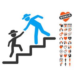gentleman education steps icon with love bonus vector image