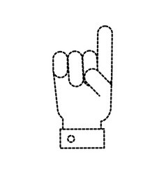Hand gesture with a raised index finger vector