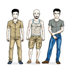 Happy men group standing wearing fashionable vector