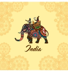 Indian maharaja on elephant mandala ornament vector