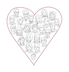 Large group of people heart shape concept vector