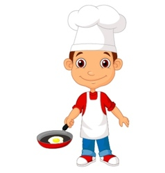 Little chef cartoon with frying pan vector
