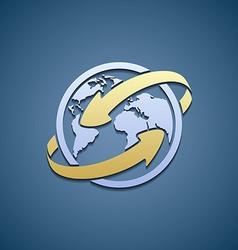 Logo Planet Earth with arrows vector image