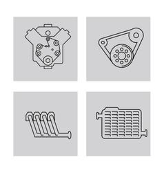 Machine icon set over frames auto part design vector