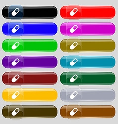 Pill icon sign set from fourteen multi-colored vector