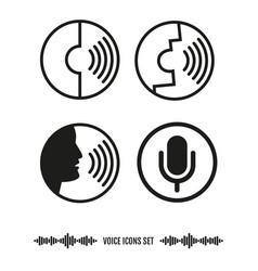 Voice recognition icons set biometrics vector