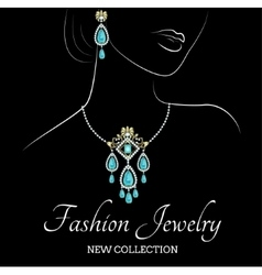 Woman with jewelry vector