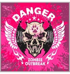 Zombi apocalypse - emblem with skull on grunge vector