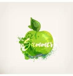 Watercolor apple with lettering vector