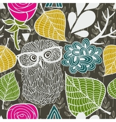 Wild owl in the autumn forest seamless pattern vector image