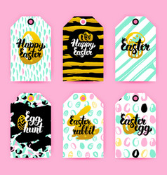 Happy easter trendy gift labels vector