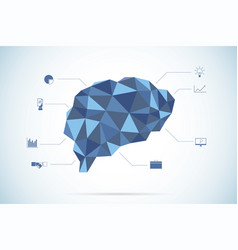 Brain polygon with business icons vector