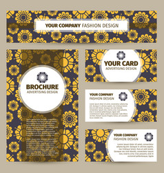 Corporate identity design with flowers pattern vector