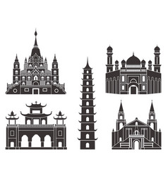 Southeast asia isolated asian buildings on vector