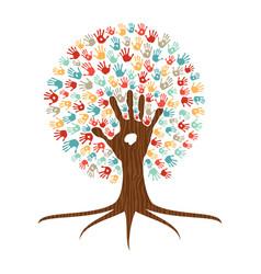 Hand print art tree for community help vector