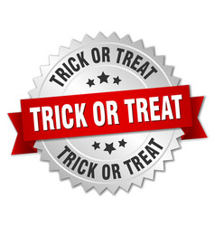 Trick or treat round isolated silver badge vector