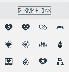 Set of simple wedding icons vector