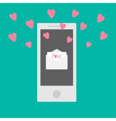 Phone with mail letter envelope and hearts vector image