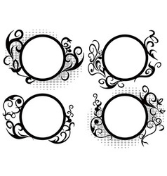 Circle floral frame decoration vector