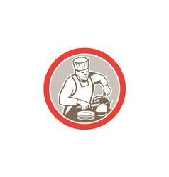 Chef Cook Slicing Meat Circle Retro vector image