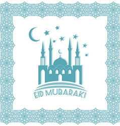 Greeting card design with silhouette of mosque and vector