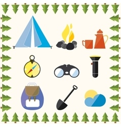 Tree wild camp rest equipment vacation mountain vector