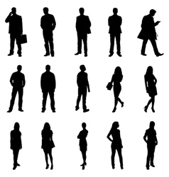 People standing black silhouette vector
