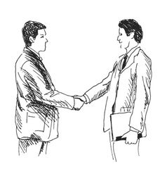 Hand sketch of two businessmen vector