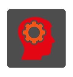 Human memory rounded square button vector