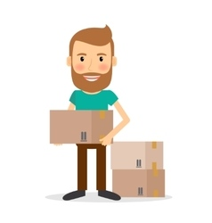 Moving house man lifting cardboard boxes vector
