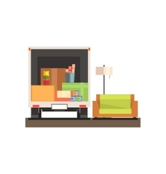 Room interior with sofa vector