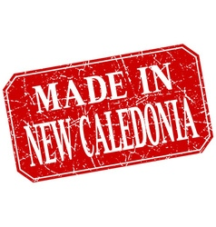 Made in new caledonia red square grunge stamp vector