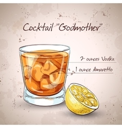 Alcoholic cocktail godmother vector