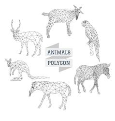 Animals polygon outline vector