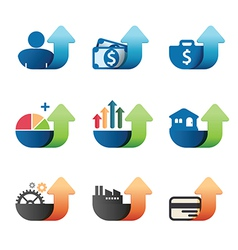 Arrow Graph chart Business concept Icons set vector image