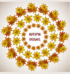 autumn decoration flowers leaves frame set vector image vector image
