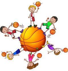 Boys and girl playing basketball vector image