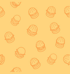 Burgers outline isometric pattern vector
