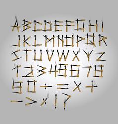 burned matchstick uppercase alphabet vector image