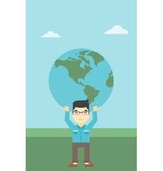 Businessman holding earth globe vector