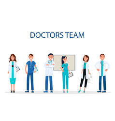 Cheerful doctors team providing medical care flat vector