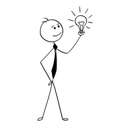 Conceptual cartoon of businessman holding glowing vector